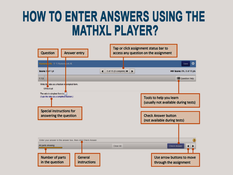 How to enter answers using the mathxl player
